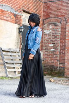 Indianapolis Style Blog, Black Pleated Maxi Skirt, Distressed Denim Jacket, All Black, Spring Outfit idea, Sweenee Style