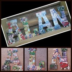 Cover wooden letters with comic book pages.  - I visited a local comic book store and bought a few comic books. I bought the letters for his name at Hobby Lobby.