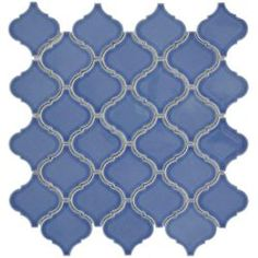 Merola Tile Lantern 12-1/2 in. x 12-1/2 in. Blue Porcelain Mesh-Mounted Mosaic Tile
