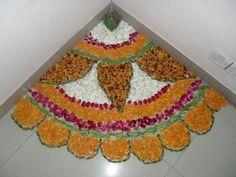 DIY rangoli with flower petals