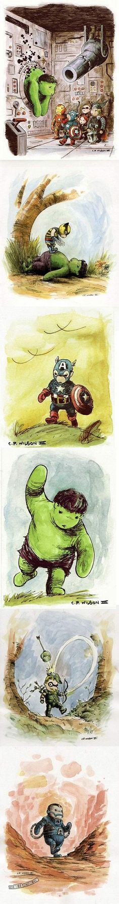 Here are some awesome illustrations of The Avengers in the style of Winnie the Pooh.