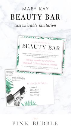 Mary Kay Beauty Bar customizable invitation! Find it only at www.thepinkbubble.co!