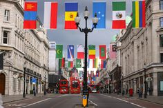 ~London welcomes the World~ Flags of the world decorate Regent Street.