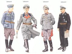 World War II Uniforms - Germany - 1942 July, GFM Erick von Manstein; Sebastopol. Germany - 1944 Spring, Erwin Rommel; French coast. Germany - 1944 September, GFM Walter Model; Holland. Germany - 1943-44, GenObst Heinz Guderian.