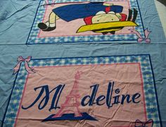 """VHTF #Madeline Fabric Material for Pillowcase 65"""" X 40"""" Blue Pink Girl"""
