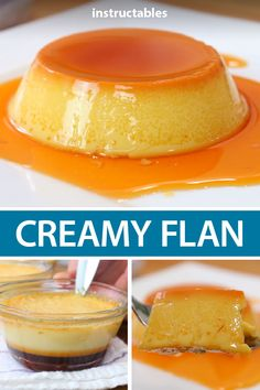 Make some delicious flan, a sweet creamy custard dessert with a burnt sugar syrup that infuses the dessert. Flan Dessert, Custard Desserts, Custard Recipes, Baking Recipes, Delicious Desserts, Easy Custard Recipe, Best Flan Recipe, Homemade Flan Recipe, Desert Recipes