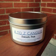 No. 879 | SWEET PEA | Natural Soy Candle | 2 oz, 4 oz, 8 oz, 16 oz Tin or Tea Lights | Hand Poured | Vegan | Eco-Friendly | Spring | Summer by AtoZCandles on Etsy https://www.etsy.com/listing/253481171/no-879-sweet-pea-natural-soy-candle-2-oz