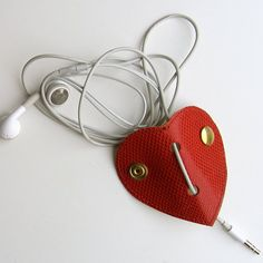 Leather earbud / earphone / cable organizer in in red and gold handmade by RinartsAtelier