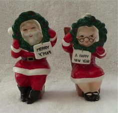 CERAMIC SANTA MRS CLAUS SALT & PEPPER SHAKERS | eBay
