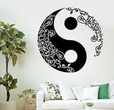 Wall Sticker Buddha Yin Yang Floral Yoga Meditation Vinyl Decal (z2897)