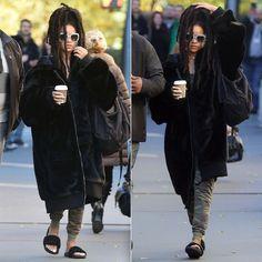 Rihanna Fenty Puma oversized fur bomber jacket and black fur slides, Gucci oversized rhinestone sunglasses
