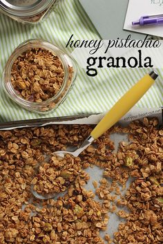 Honey Pistachio Granola: Make a batch of Honey Pistachio Granola and have a fabulous snack for your coffee breaks this week.