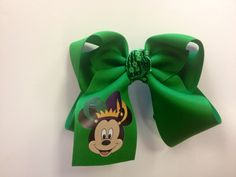 Large green mardi gras bow with mickey