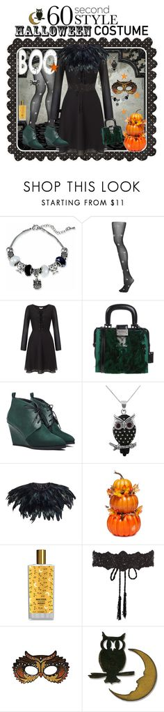 """Owl - 60 Second Style: Last Minute Halloween Costume"" by ana3blue ❤ liked on Polyvore featuring Topshop, Lipsy, Dsquared2, Jewel Exclusive, John Lewis, Memo Paris, Accessorize, Masquerade and Sizzix"