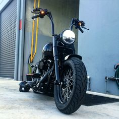 """I fitted up some 16"""" RSD apes to my Softail Slim S recently, along with concealed pillion pegs, mini led front indicators, mini oval mirrors, Performance Machine grips and my custom fender eliminator."""