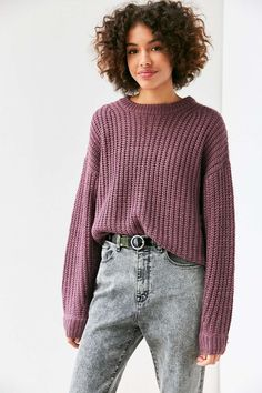 Urban Outfitters BDG Ashley Waffle Stitch Crew Neck Sweater- $59
