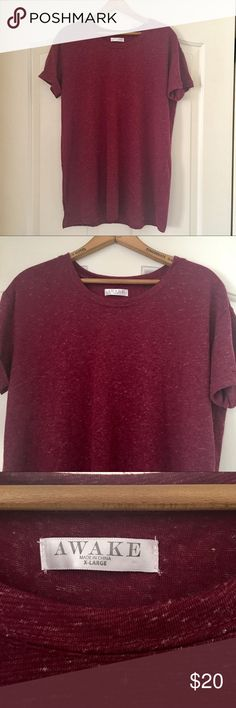 Awake Maroon Crewneck Like new! No flaws, stains or loose threads. Heathered Maroon crew neck tee with rolled sleeves, perfect to pair off with distressed jeans for a simple and casual go to look. Awake  Tops Tees - Short Sleeve