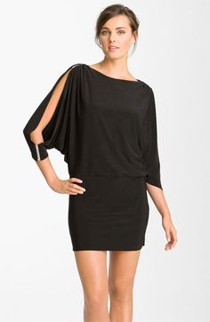 Betsy & Adam Embellished Split Sleeve Jersey Minidress available at #Nordstrom