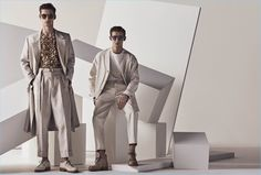 Discover Cerruti Spring Summer 2018 advertising campaign featuring top models Kit Butler, David Trulik, and Christopher Einla captured by fashion photographer Matthew Brookes at CLM. Kit Butler, Big Photo, Two Men, Advertising Campaign, Spring Summer 2018, Fashion Shoot, Pretty Boys, Male Models, Menswear