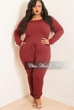 caeca59c007 Final Sale Plus Size Off the Shoulder Jumpsuit with Tie in Burgundy