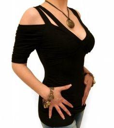 I like the odd design. #black #cut #out #shoulder #top #shirt £24.99