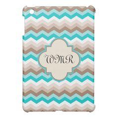 Beach Colors Chevron Monogram iPad Mini Case