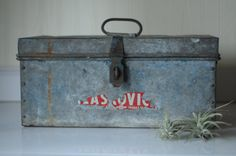 RESERVED FOR KYLE Metal Box Toolbox Vintage Metal by PageScrappers