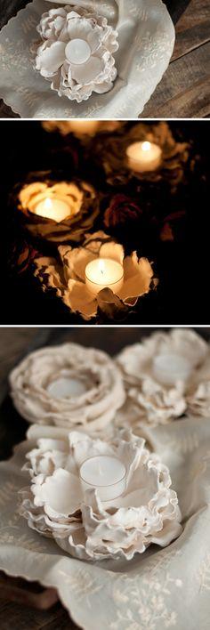 DIY Romantic Plaster Dipped Flower Votives