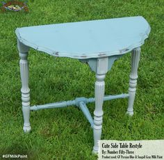 Number Fifty Three, http://numberfiftythree.blogspot.com/, gave this demilune side table a great new look with the help of General Finishes Persian Blue and Seagull Gray Milk Paint.  We'd love to see your projects made with General Finishes products! Tag us with #GeneralFinishes on Pinterest or share with us through our facebook page by using @GeneralFinishes.  Don't forget to let us know which products were used! #generalfinishes #gfmilkpaint #paintedfurniture
