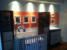 Coral, Baby Blue, Chocolate & White Nursery Color Palette.