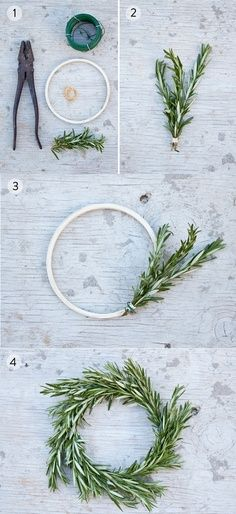DIY Rosemary Wreath! Just so cute. maybe we could do these with queen anne's lace!