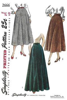 Simplicity 2666 Women's 40s Skirt in Two Lengths Sewing Pattern Waist 26 Hip 35 by Denisecraft on Etsy