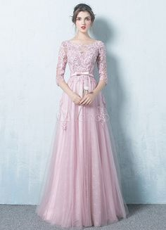 Pink Evening Dress Tulle Backless Prom Dress Lace Applique Three Quarter Sleeve Sash A Line Maxi Occasion Dress