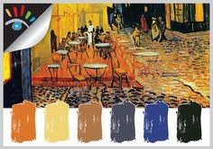 Color Palette - Kleurtinten, Vincent van Gogh – Nachtcafé in Arles 1888.