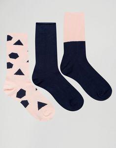 Изображение 1 из Набор из 3пар носков с геометрическим рисунком ASOS