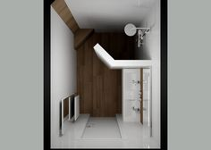 Smalle kleine badkamer met inloopdouche en dubbele wastafel Bathroom Toilets, Bathroom Renos, Washroom, Mini Bad, Tiny House, New Homes, Shower, Architecture, House Styles
