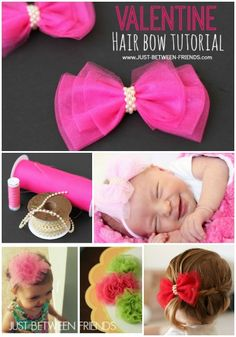 Valentine Hair Bow Tutorial by Just-Between-Frie. Valentine Hair Bow Tutorial by Just-Between-Frie Diy Hair Bows, Diy Bow, Homemade Hair Bows, Diy Headband, Headbands, Tulle Crafts, Hair Bow Tutorial, Barrettes, Hairbows