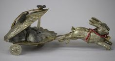 DRESDEN OYSTER SHELL CHARIOT PULLED BY RABBITS