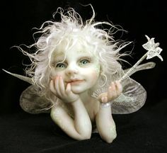 polymer+clay+art+dolls   polymer clay art dolls / .doll with white hair and smile