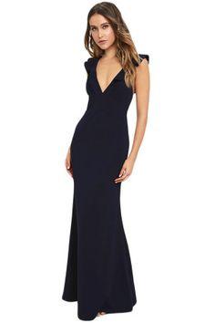 68010311386 rochie neagră de seara cu decolteu in V rochii de seară sâni mici Peplum