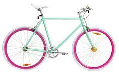 CUUUUTEEE! jellybean bike; aqua small frame, white grips, white seat, orange chain, white seat post and stern, silver crankset, hot pink rear rim, white rear tyre, hot pink front rim, white front tyre, small size, free wheel.