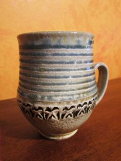 stamped & soda-fired mug by Gary Jackson : Fire When Ready Pottery