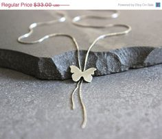 SALE Silver Y necklace, Lariat necklace, dainty butterfly necklace sterling silver lariat necklace. on Etsy, 108.29₪