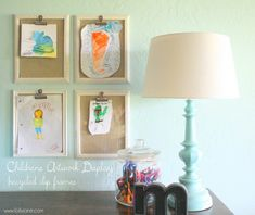 DIY Children's Art Display from 8x10 frames and Fabric