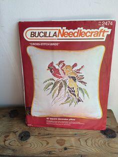 "Bucilla NeedleCraft Kit #2474  Cross Stitch Birds - Knife Edge Pillow   16"" x 12""  Make Pillow  Great Beginner Needlepoint Project by VintageFlicker"