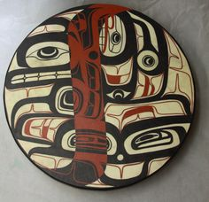"""Through my Open view inciting and inviting me   (Across the Universe) 20"""" Drum  Elk Skin, Acrylic Paint, Wood  April 2012"""