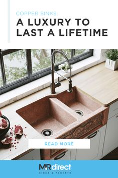 Copper sinks can fit into almost any design! Their distinct color blends in beautifully with shades of white in traditional kitchens and bathrooms, and fits naturally with warm tones and wooden elements as well. Copper also works in contemporary kitchens, especially when metallic or copper cookware is incorporated into the decor.