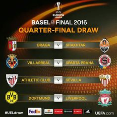 The official result of the UEFA Europa League Quarter Final draw. #UELdraw