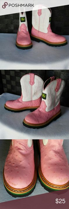 JOHN DEERE ostrich boots John Deere western cowboy boots, white/pink Leather with Faux Ostrich. Boys size 1 1/2 M These are gently used but have lots of life in them.  They have slight scuff on front of boots. Otherwise in good shape. John Deere Shoes Boots
