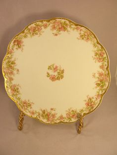 Haviland Limoges Scalloped Edge Plate Made for M. F. Kaag & Sons w/Pink Flowers
